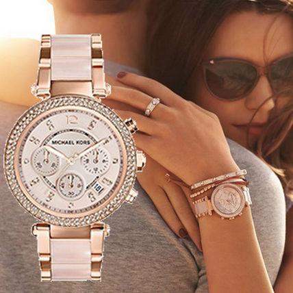 【限時8折 全店滿5000再9折】MichaelKors MK 粉玫瑰金 水鑽  陶瓷  三環 手錶 腕錶 MK5896 美國Outlet正品代購 1