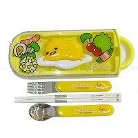 蛋黃哥 gudetama 新品 湯匙 筷子 叉子 304不鏽鋼滑蓋式環保餐具組 餐具 日本製造進口 JustGirl