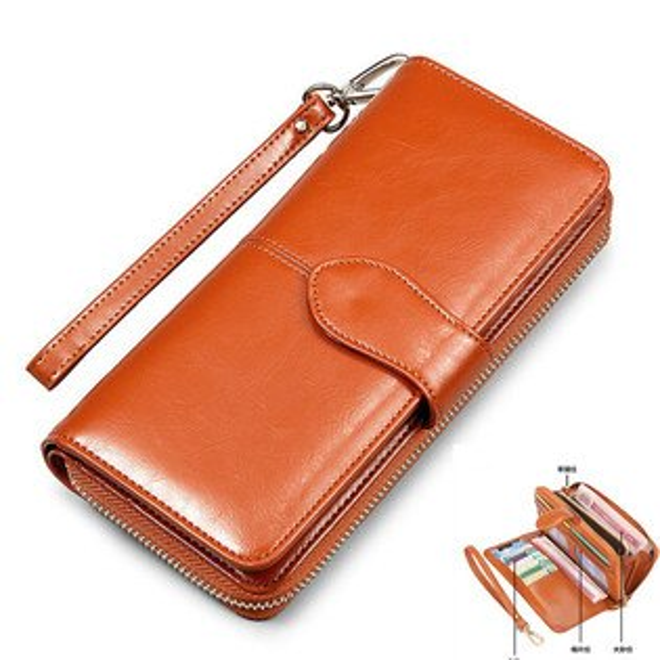 皮夾-優質多卡位多格層皮革長夾 手機錢包 WMN 1408-寶來小舖-現貨販售