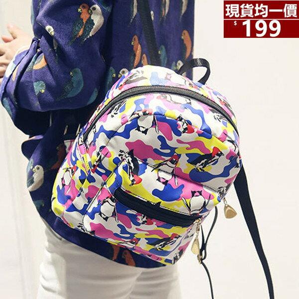 後背包~防水尼龍企鵝塗鴉後背小包包~TD1666~寶來小舖 販售
