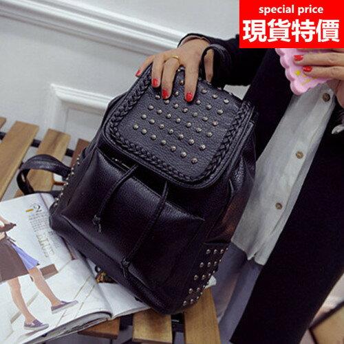 後背包-鉚釘編織邊韓版後背包-黑色-h659-寶來小舖 現貨販售