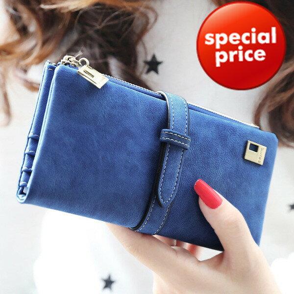 (現貨販售)長夾 磨砂質感韓版多卡位典雅金色點綴皮夾 手機錢包(GIN01) 寶來小舖