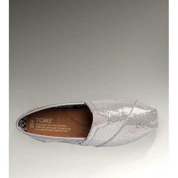 【TOMS】經典亮片款平底休閒鞋(銀色)  Sliver Glitter Women's Classics 3