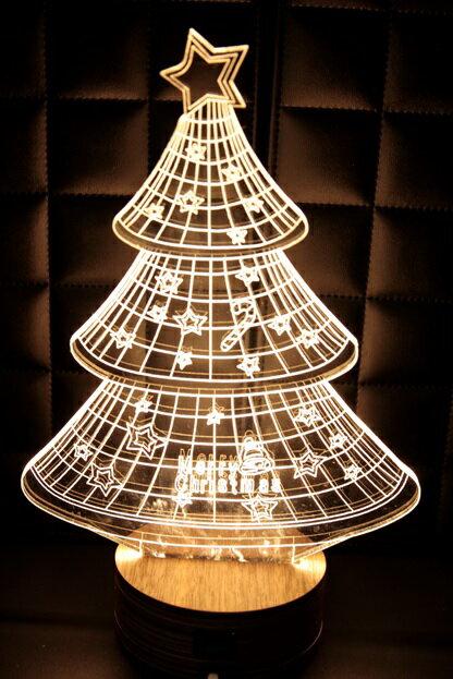 LED  3D立體燈 聖誕樹 木質底座 小夜燈 氣氛燈 燈 USB 生日 聖誕 ~  好康