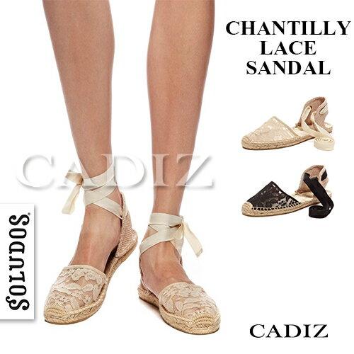【Cadiz】美國正品 SOLUDOS 蕾絲綁帶草編鞋 [CHANTILLY LACE SANDAL/ 代購/ 現貨] - 限時優惠好康折扣