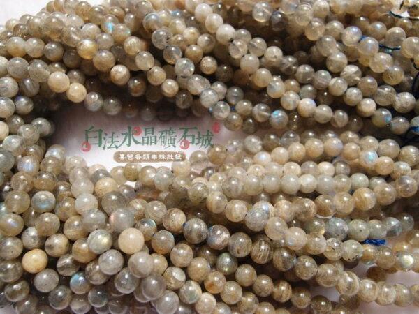 白法水晶礦石城 天然-閃耀 拉長石 6mm 礦質 淺色 串珠/條珠 首飾材料(加值購專區)