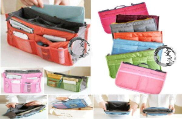 童衣圓【HA013】HA13袋中包 繽彩 雙拉鍊 手提 包中包 袋中袋 媽媽包 多功能 收納包 雙層加厚