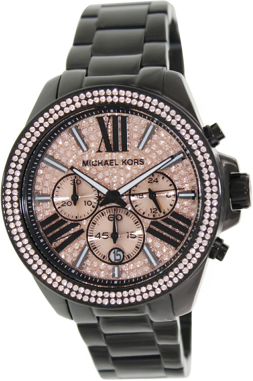 【MICHAEL KORS】正品 閃耀玫瑰金色羅馬滿天星三環黑色陶瓷手錶 MK5879 0