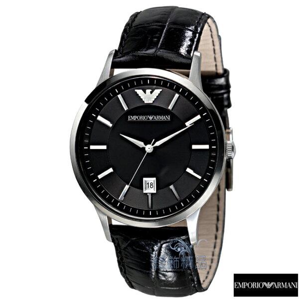 【錶飾精品】ARMANI手錶 亞曼尼表 都會型男 日期 黑面 黑皮帶男錶AR2411 禮物