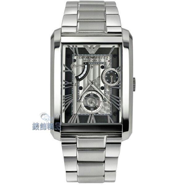 【錶飾精品】ARMANI手錶 亞曼尼表 黑銀面鋼帶 日期 動力儲存顯示機械錶AR4246大 男錶禮物
