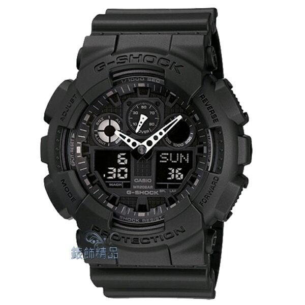 【錶飾精品】現貨卡西歐CASIO G-SHOCK重型機械感3D錶盤 GA-100-1A1DR消光黑GA-100-1A1 全新原廠正品 生日 情人節 禮物 禮品