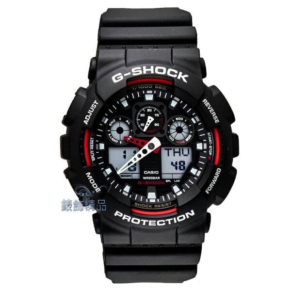 【錶飾精品】現貨 卡西歐CASIO G-SHOCK GA-100-1A4黑框紅GA-100-1A4DR全新正品