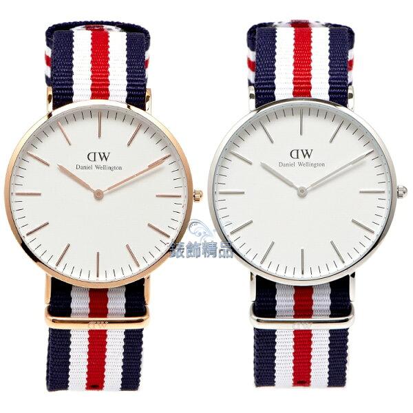 【錶飾精品】現貨 瑞典 DW 手錶 Daniel Wellington 北歐極簡休閒 尼龍 0102DW金 0202DW銀 Classic Canterbury 40mm