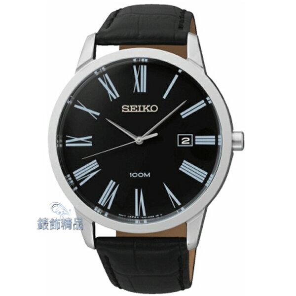 【錶飾精品】SEIKO手錶 精工表 經典時尚 羅馬時標 黑面日期 防水 黑皮帶男錶 SGEH13 全新正品 SGEH13P1 禮物