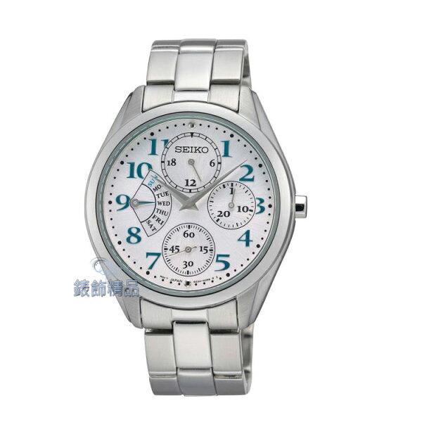 【錶飾精品】SEIKO 精工表 SRL051P1 都會淑女 白面 24時制 扇形視窗 孔雀綠鋼帶女表 SRL051全新原廠正品