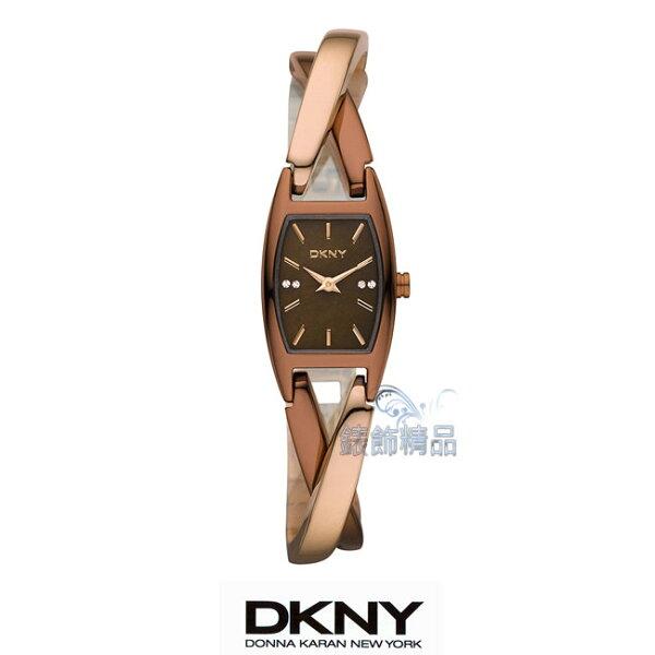 【錶飾精品】DKNY手錶/DKNY表/玫瑰金+咖啡金交叉鍊帶/3、9點刻度晶鑽女錶NY8439 全新原廠正品