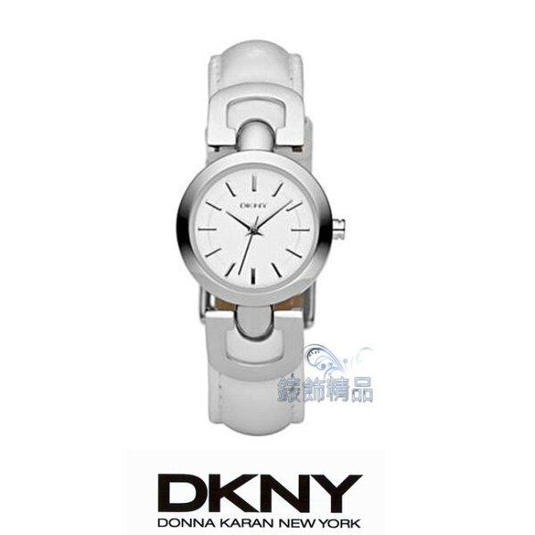 【錶飾精品】DKNY WATCH/DKNY手錶/DKNY錶俏麗雙D白面白皮帶女錶 NY4948全新原廠正品