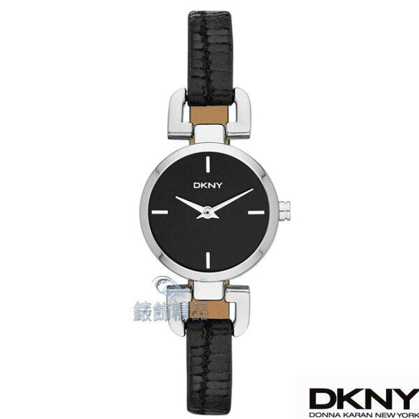 【錶飾精品】DKNY手錶 時尚仕女 D 錶耳經典設計 黑面黑皮帶女錶NY8878原廠正品 情人禮物