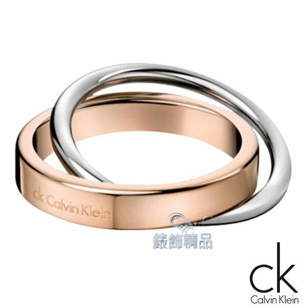 【錶飾精品】Calvin Klein jewelry/CK飾品/CK戒指/雙環雙色戒指/禮物/316L白鋼-玫瑰金+銀色KJ63BR0101全新原廠正品
