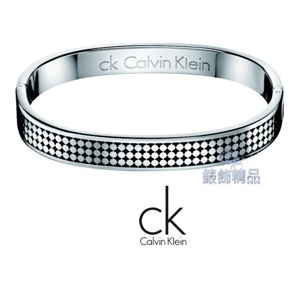【錶飾精品】Calvin Klein/CK JEWELRY/CK飾品/ck手環菱格紋/316L白鋼KJ71AB0101全新原廠正品