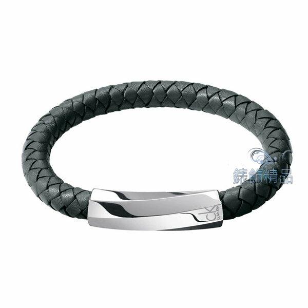 【錶飾精品】CK飾品 CK手環 316L白鋼 迷惘系列-皮繩編織灰綠色手環KJ2BAB0901全新原廠正品