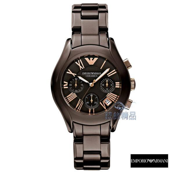【錶飾精品】ARMANI手錶 亞曼尼 三眼計時 日期 咖啡金 陶瓷女錶AR1447全新原廠正品 禮物