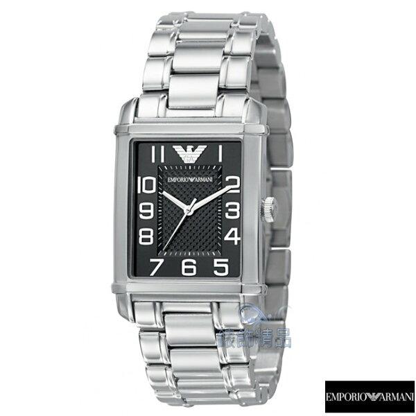 【錶飾精品】ARMANI WATCH/ARMANI手錶/ARMANI錶/亞曼尼爵士風方黑面菱格紋鋼帶女錶AR0493全新原廠正品