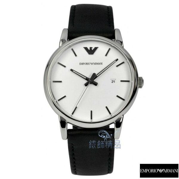 【錶飾精品】ARMANI手錶 亞曼尼表 時尚優雅 日期 白面黑色皮帶男錶AR1694 禮物