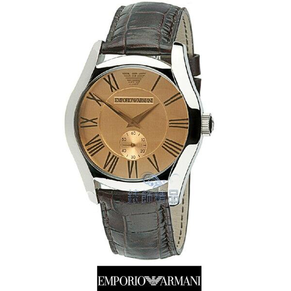 【錶飾精品】ARMANI手錶/亞曼尼經典款小秒針香檳金面咖啡皮帶男錶AR0645