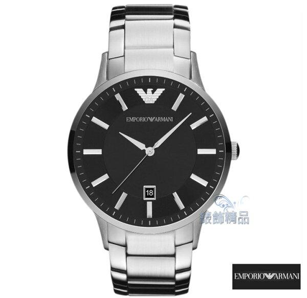 【錶飾精品】ARMANI錶 亞曼尼表 都會型男 日期 黑面鋼帶薄型 男錶AR2457原廠正品 禮物