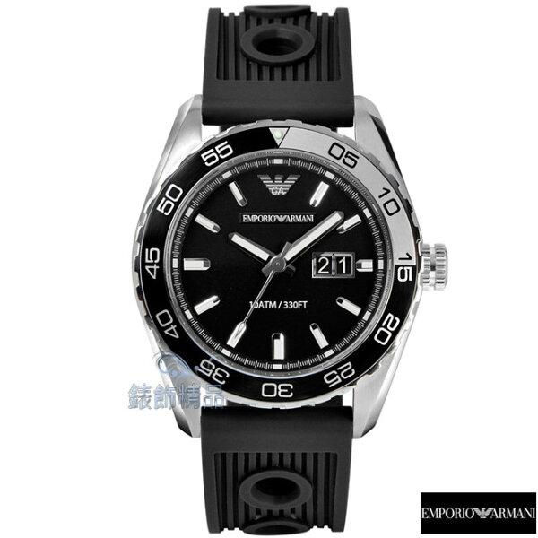 【錶飾精品】ARMANI手錶 亞曼尼 運動款個性腕錶 大視窗 夜光 防水 鐵灰面黑膠帶AR6044正品