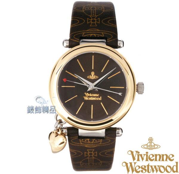 【錶飾精品】Vivienne Westwood 英倫時尚腕錶 心型墜飾 金框 LOGO圖紋咖啡色真皮錶帶VV006BRBR原廠正品 禮物