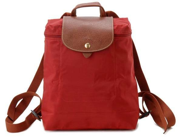 【LONGCHAMP】 LE PLIAGE 紅色折疊後背包 0
