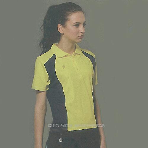 MILD STAR 女版吸濕排汗短POLO衫-黃藍#LS600899 0
