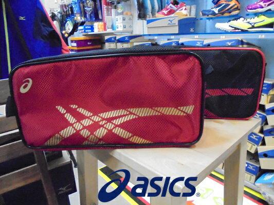 [陽光樂活] ASICS 運動鞋袋 紅底金Logo+黑底紅Logo(兩入一組)
