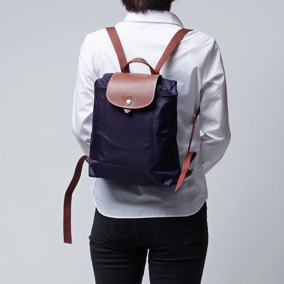 【LONGCHAMP】 LE PLIAGE 深紫折疊後背包 2