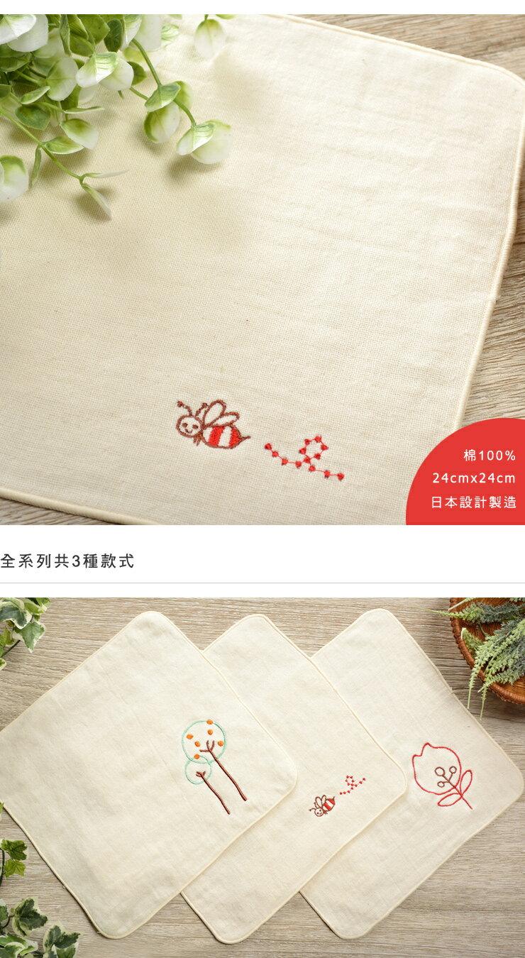 日本今治 - ORUNET - 刺繡手帕(蜂)《日本設計製造》《全館免運費》,有機棉,純棉100%,觸感細緻質地柔軟,吸水性強,日本設計製造,天然水洗滌工法,不使用螢光染料,不添加染劑