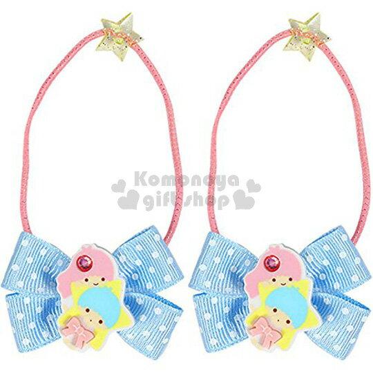 〔小禮堂〕雙子星 日製兒童彈力髮束~2入.藍.飛翔.點點緞帶~髮圈