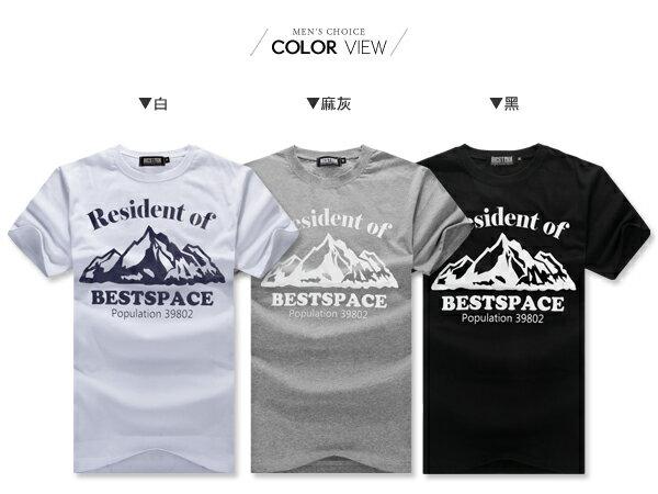 ☆BOY-2☆【ND5473】短袖T恤簡約休閒型男潮流修身英文山脈印花短T 1