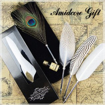 禮品創意 歐式復古蘸水筆세트套裝羽毛鋼筆 十天預購