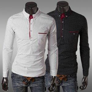 衫 2014秋冬새로운 韓味男式經典黑白時尚圓點長袖修身시퐁셔츠襯衫 百搭POLO衫