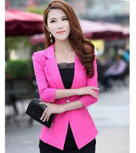 秋冬新款女裝 超好品質韓味原單糖果色小西裝外套(玫紅色)