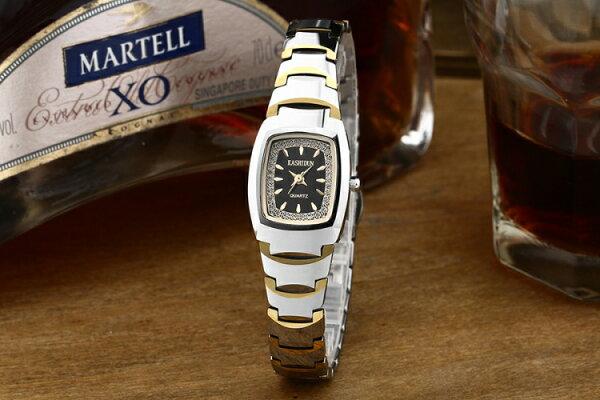 卡詩頓防水鎢鋼女錶 玫瑰金女鑽表 復古表手錶女