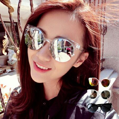 炫彩鏡面反光半框墨鏡 圓框 太陽眼鏡【N201676】