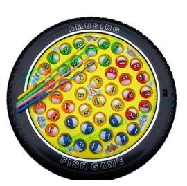 章魚哥電動釣魚玩具 盒裝 45條魚 四根釣杆 車輪形