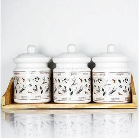創意調味盒 陶瓷生活精工調味罐三件裝 家居調味瓶