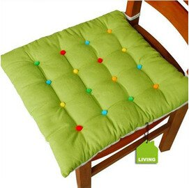 新潮時尚方形坐墊 七彩點純棉椅墊系列-綠色(40*40*10cm)