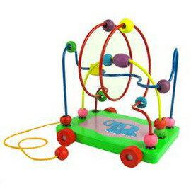 兒童益智玩具0-3歲 大象拖車繞珠 木制繞珠-7701005