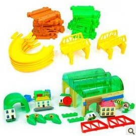 熱銷新品拼裝雙層電動軌道火車軌道積 兒童益智玩具-7701005