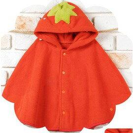 嬰兒披肩斗篷外套上衣 男女寶寶披風 造型可愛裝(桔色草莓加棉 黃色小鴨加棉)-7701007